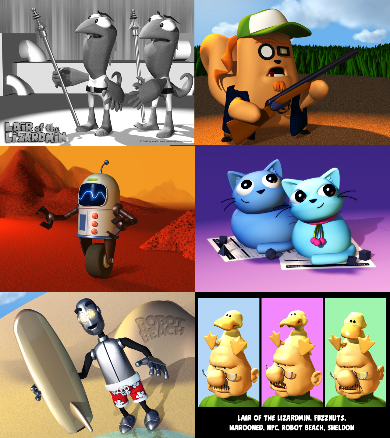 Some 3D Fan art I did a couple of years ago for some of my favorite webcomics.