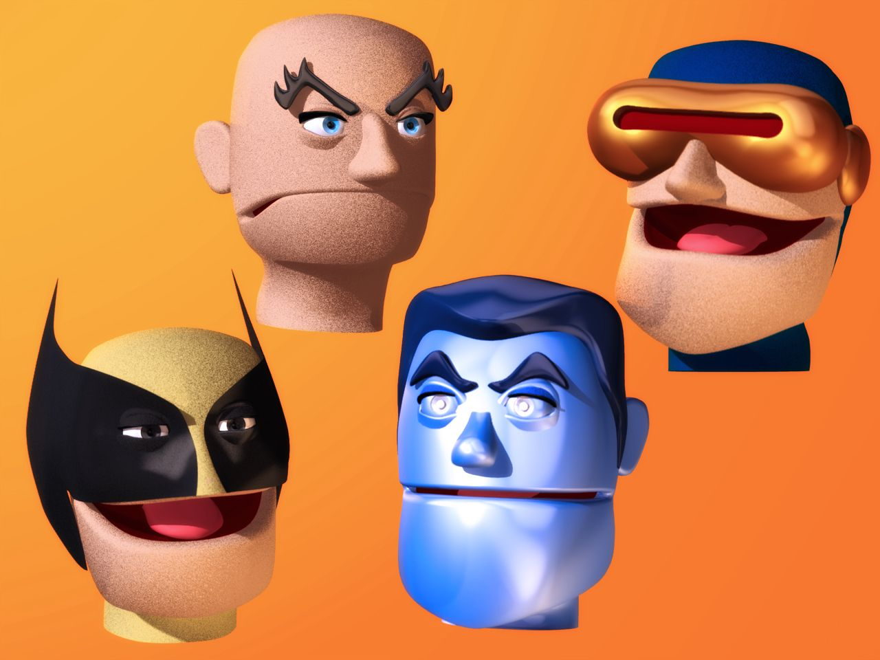 Puppet heads of some of the X-Men for the abandoned Giant Sized X-Men #1 parody.
